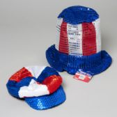 48 Units of Hat Patriotic Sequin Stovepipe Tophat Or Tricolor Beret 2asst - Seasonal Items