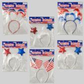 96 Units of Headband Patriotic 6asst Flag/3 Stars/2 Hair Styles Patriotic - 4th Of July