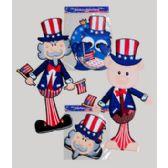 96 Units of Jointed Cutouts Patriotic 3ast Sam/pig/owl Designs - Seasonal Items