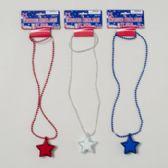 144 Units of Necklace Light-up Patriotic Star Bead Ncklc W/2-in Star 3asst - Seasonal Items