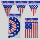 144 Units of Patriotic Banner 12ft 3asst Bunting/flag/triangle 3finish Patriotic - Seasonal Items