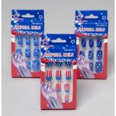 96 Units of Patriotic Fake Nails 3asst Designs Firework/flag/stars - 4th Of July