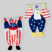 48 Units of Patriotic Hang Decor On Dowel Uncle Sam Or Eagle 13.5 X 23.5 Patriotic Hangtag