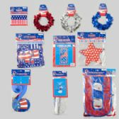 144 Units of Patriotic Party Decor Combo 8asst Banners/grlnd/cntrpc/door - Seasonal Items