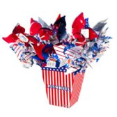 108 Units of Patriotic Pinwheel 17in 2asst Red/blue-star/stripe Kd Display 36pc - 4th Of July