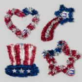 96 Units of Patriotic Tinsel Decor 12-16in Star/heart/hat/shooting Star Patriotic Hangtag - 4th Of July