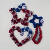 96 Units of Patriotic Tinsel Decor 12-16in Star/shooting Star/heart 3asst Gov Patriotic Hangtag - 4th Of July