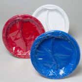 96 Units of Plates 2 Section 6pk Plastic Red, White, Blue - 4th Of July
