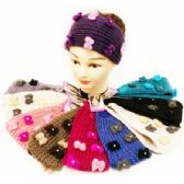 24 Units of Rhinestone Cute Bows Knitted Ear Band Headbands - Headbands