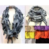 24 Units of Knitted Bi-Color Braid Effects Infinity Circle Scarves - Womens Fashion Scarves