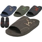 36 Units of Men's Open Toes Slippers With Antler Embroidered
