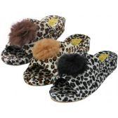 48 Units of Women's Satin Velour Leopard Print Upper Open Toe House Slippers - Women's Slippers