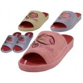 48 Units of Women's Satin Lip Kiss Cherry Embroidery Upper Close Toe House Slippers - Women's Slippers