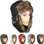 36 Units of PILOT HAT IN ASSORTED COLORS WITH FAUX FUR LINING AND STRAP - Trapper Hats