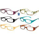 48 Units of 6 STYLES ASST CHEETAH PLASTIC READING GLASSES - Reading Glasses