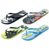96 Units of Mens Beach Flip Flops Assorted Prints And Sizes