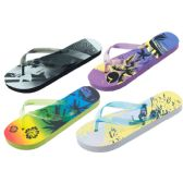 Wholesale 96 Units of Woman Assorted Printed Beach Flip Flops