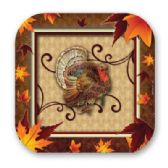 """144 Units of Fall Turkey 7"""" Plate 8ct - Party Paper Goods"""