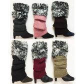 24 Units of Knitted Faux Leopard Printed Fur Bootcover Leg Warmer - Womens Leg Warmers