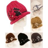 24 Units of Winter Knitted Women Hat with Rhinestone Bowtie - Fashion Winter Hats