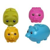 96 Units of Pig Bank Set Solid Asst Color - Coin Holders/Banks/Counter