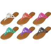 36 Units of LADIES CIRCLE CUT OUT SANDAL WITH CLEAR RHINESTONES ON THE UPPER