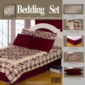 6 Units of 6PC 100% COTTON BURGUNDY COMFORTER SET