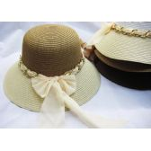 36 Units of Ladies Summer Hat Assorted Colors With Bow - Sun Hats