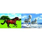 50 Units of 3D Picture 80--Two White Horses/Brown Horse - 3D Pictures
