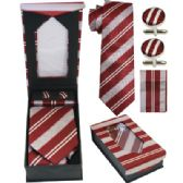 36 Units of Striped Red and Gray Tie and Cuff Link Set - Neckties