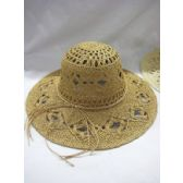 36 Units of Ladies Woven Summer Hat in Natural Colors - Sun Hats