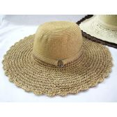 36 Units of Ladies Woven Summer Hat Assorted Natural Colors - Sun Hats