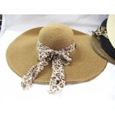 36 Units of Ladies Woven Beach Summer Hat With Animal Print Wrap - Sun Hats