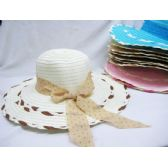 36 Units of Ladies Woven Summer Hat Assorted Colors With Bow Design - Sun Hats