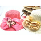 36 Units of Ladies Fancy Summer Hat Assorted Colors - Sun Hats