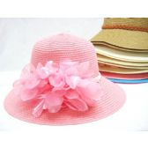 36 Units of Ladies Summer Hat Assorted Colors Solid With Accent - Sun Hats