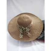36 Units of Ladies Cheetah Print Bow Summer Hat Assorted Color