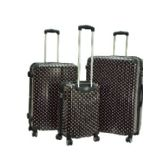 "2 Units of ""E-Z Roll"" 3pc Black W/Pink Dots Spinner Wheel Hardshell - Travel"