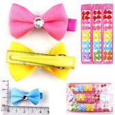 72 Units of HAIR CLIPS 10PC BOW CLIP RIBBED WITH STO 3 ASST COLORS 5 COLORS PER CARD - Hair Fancy Clips