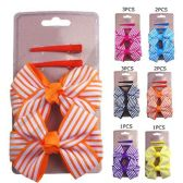 72 Units of HAIR 4PC ASST BOW AND CLIPS 6 COLORS
