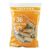 100 Units of Quarter Coin Wrappers (36/Pack) - Coin Holders/Banks/Counter