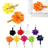 72 Units of HAIR CLIPS SATIN EMBELLISHED FLOWER 9 ASSTD. COLORS