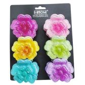 240 Units of HAIR PLASTIC 2 TONE FLOWER JAW CLIP SMAL 6  ASSORTED COLORS - Hair Fancy Clips