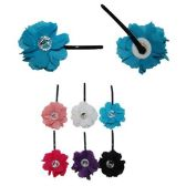 72 Units of HAIR CLIP FABRIC FLOWER WITH STONE 6  ASSORTED COLORS - Hair Fancy Clips