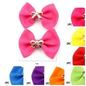 72 Units of HAIR 2PC BOW POLYESTER ALLIGATOR CLIP 7 ASSTD. COLORS - Hair Fancy Clips