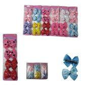 72 Units of HAIR 4PC CLIPS BOWS WITH HEARTS PRINTED 3 ASST. COLORS - Hair Fancy Clips