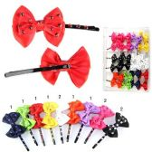 72 Units of HAIR 2PC BOBBY PINS WITH BOW CRYSTALS 9 ASSTD. COLORS - Boby Pins