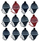 48 Units of JUNIOR EAR COVER KNIT HAT TASEL TIES 3 COLORS BLACK GRAYS - Junior / Kids Winter Hats