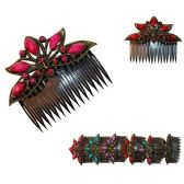240 Units of PLASTIC PEACOCK HAIR COMB W/ STONES 6 ASSORTED COLORS - Hair Combs