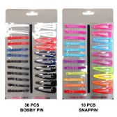 72 Units of HAIR 36PC BOBBY PIN 10PC SNAP CLIP ASSTD. COLORS - Boby Pins